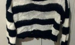 Black and White Striped Knit, Size M, Brand New I
