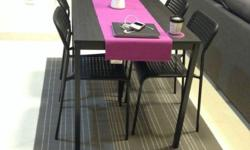 Black Dining Table size 110x67 cm Used for 8 months,