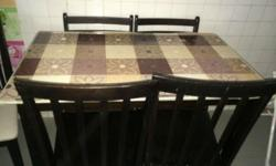 Black Dining Table set with 4 black chairs