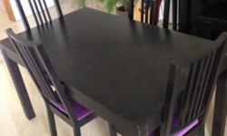 Great condition Black wooden table with 4 recently