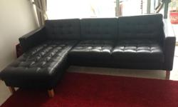 3 seater black leather sofa for sale. 3 years old, well