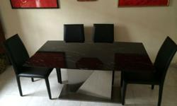 Stylish Black Marble Table on Stainless Steel Foot with
