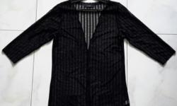 Transparent Black Stripes Cardigan. No buttons type but