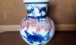 Blue and white with underglaze red vase