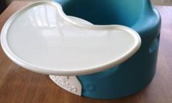 Bumbo seat in blue with plastic tray table This was