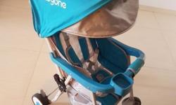 Blue stroller at good condition, light weight to carry