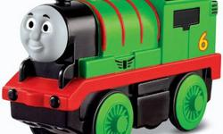 Battery operated Percy can move around the track on his