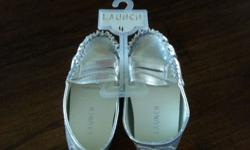Brand new Launch stylish silver patent baby moccasins
