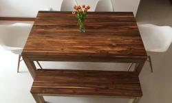 Brand New Teak Table & Bench for Sale! Dimensions: Teak