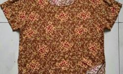 Brown blouse with red flowers. Good condition. See 2nd