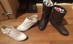 Brown colour boots , white colur color ankle boots . In