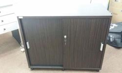 2 shelf lockable cabinet with sliding doors