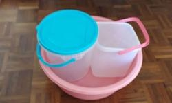 two buckets(one with lid) one tub sgd 10 total each sgd
