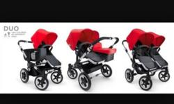 Comes with pram base, one bassinet, two seats, two red