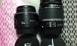 Canon 18-55mm is. Canon 50mm 1.8 mk ll. 58mm 0.43 wide