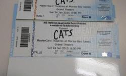 Selling a pair of Cats Musical concert tickets Cat1 Row