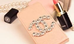 chanel inspired phone casing in either dark pink ( pic