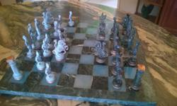 40cm by 40cm Marble /Onyx Chess Set with Non-Tarnish