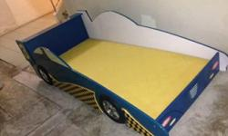 Blue sportcar bed. Solid Wood. No mattress provided