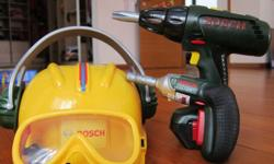 This children Bosch tool set includes a drilling