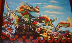 Item: Chinese Oil Painting - Beautiful Dragon on the