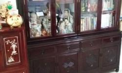 Chinese rosewood furniture: display cabinets, dining