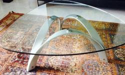 High quality Glass and metal coffee table with Italian