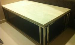 Modern design coffee table, marble top and stainless