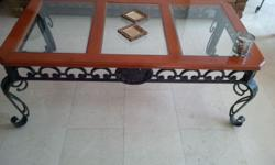 Solid wood and wrought iron coffee table Dimensions: L