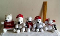 5 small Coca Cola plush bears @ $50 or 1 for $12. Many