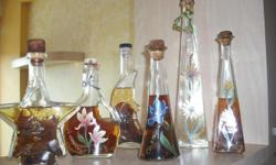 Collectable Hand Painted Bottles with Fruits & Flowers