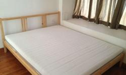 This comfortable king size bed and mattress are in good