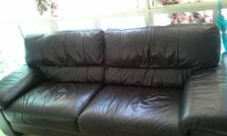 Chocolate brown leather 3 seater sofa for sale. It is