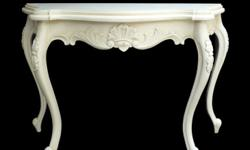 Victorian console table in carved mahogany wood white