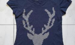 Cotton On Body Blue t shirt, with deer's head design .