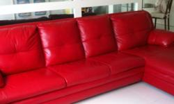 Red L- Shape sofa from Lorenzo LRM leather 303 cm(L)x