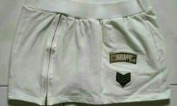 "Cream short skirt with yellow shorts inside. ""Army"""