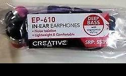 Creative In-Ear Earphones EP-610 Brand new in plastic.