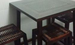 Custom Balinese solid wood & rattan tall table and 03 x