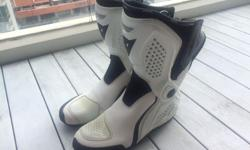 Top of the line Dainese boots, white, UK size 8. Used