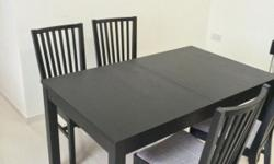Dining room table + 4 chairs to sell, very good