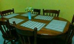 Solid Wood 6 Seater Dining Set with some scratches but