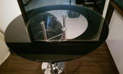 Tempered glass and chrome bar table - mint condition