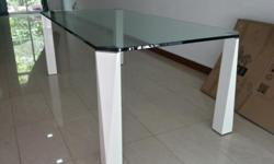 15mm thick, 2m length glass dining table for sale, in