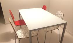 Ikea's Dinning Table, Aluminium & glass + 4 chairs