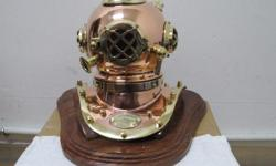 "STUNNING POLISHED COPPER AND BRASS 8"" DIVING HELMET IS"