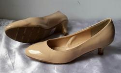 DMK Mid Heel Shoes. Skin tone colour with tiny shiny