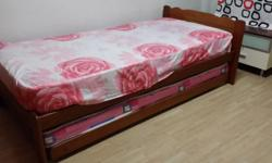 Double bed of single size with 2 mattresses. Mattresses