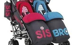 Compact double stroller fits in boot and lifts - great
