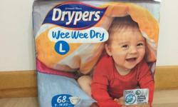 Drypers Wee Wee Dry L size 68pcs New, unopened Bought